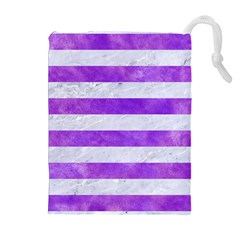 Stripes2white Marble & Purple Watercolor Drawstring Pouches (extra Large) by trendistuff