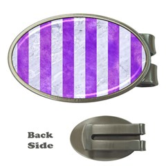 Stripes1 White Marble & Purple Watercolor Money Clips (oval)  by trendistuff