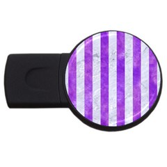 Stripes1 White Marble & Purple Watercolor Usb Flash Drive Round (2 Gb) by trendistuff