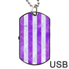 Stripes1 White Marble & Purple Watercolor Dog Tag Usb Flash (two Sides)