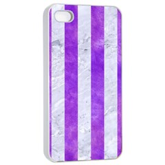 Stripes1 White Marble & Purple Watercolor Apple Iphone 4/4s Seamless Case (white) by trendistuff