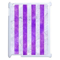 Stripes1 White Marble & Purple Watercolor Apple Ipad 2 Case (white) by trendistuff