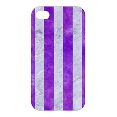 Stripes1 White Marble & Purple Watercolor Apple Iphone 4/4s Hardshell Case by trendistuff