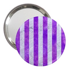 Stripes1 White Marble & Purple Watercolor 3  Handbag Mirrors by trendistuff