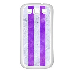 Stripes1 White Marble & Purple Watercolor Samsung Galaxy S3 Back Case (white) by trendistuff