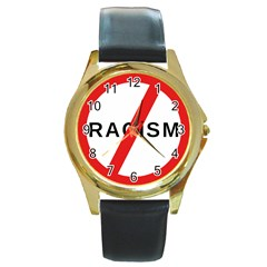 No Racism Round Gold Metal Watch by demongstore