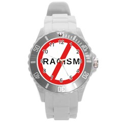 No Racism Round Plastic Sport Watch (l) by demongstore