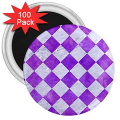 Square2 White Marble & Purple Watercolor 3  Magnets (100 Pack) by trendistuff