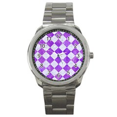 Square2 White Marble & Purple Watercolor Sport Metal Watch by trendistuff