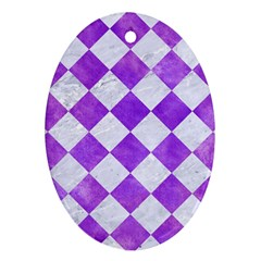 Square2 White Marble & Purple Watercolor Oval Ornament (two Sides) by trendistuff