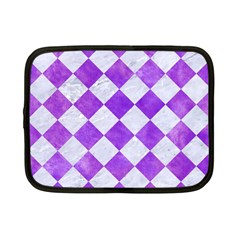 Square2 White Marble & Purple Watercolor Netbook Case (small)  by trendistuff