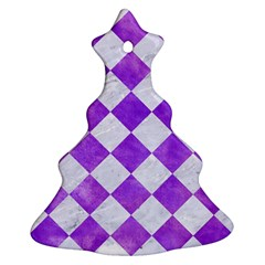 Square2 White Marble & Purple Watercolor Christmas Tree Ornament (two Sides) by trendistuff