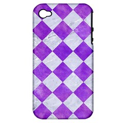 Square2 White Marble & Purple Watercolor Apple Iphone 4/4s Hardshell Case (pc+silicone) by trendistuff