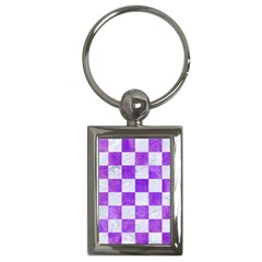Square1 White Marble & Purple Watercolor Key Chains (rectangle)  by trendistuff