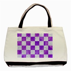 Square1 White Marble & Purple Watercolor Basic Tote Bag by trendistuff