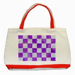Square1 White Marble & Purple Watercolor Classic Tote Bag (red) by trendistuff