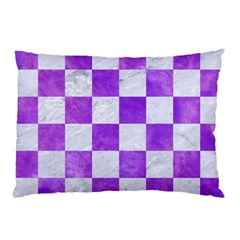 Square1 White Marble & Purple Watercolor Pillow Case by trendistuff