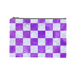 Square1 White Marble & Purple Watercolor Cosmetic Bag (large)  by trendistuff