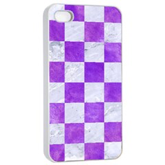 Square1 White Marble & Purple Watercolor Apple Iphone 4/4s Seamless Case (white) by trendistuff