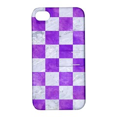 Square1 White Marble & Purple Watercolor Apple Iphone 4/4s Hardshell Case With Stand by trendistuff
