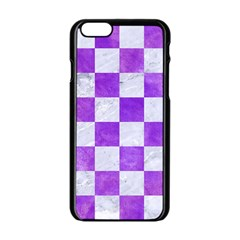 Square1 White Marble & Purple Watercolor Apple Iphone 6/6s Black Enamel Case by trendistuff