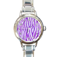 Skin4 White Marble & Purple Watercolor (r) Round Italian Charm Watch by trendistuff