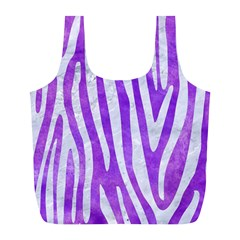 Skin4 White Marble & Purple Watercolor (r) Full Print Recycle Bags (l)  by trendistuff