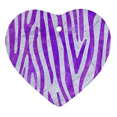Skin4 White Marble & Purple Watercolor Heart Ornament (two Sides) by trendistuff