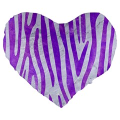 Skin4 White Marble & Purple Watercolor Large 19  Premium Heart Shape Cushions by trendistuff