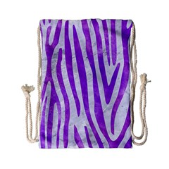 Skin4 White Marble & Purple Watercolor Drawstring Bag (small) by trendistuff