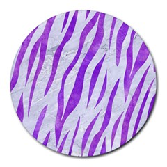 Skin3 White Marble & Purple Watercolor (r) Round Mousepads