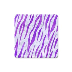 Skin3 White Marble & Purple Watercolor (r) Square Magnet by trendistuff