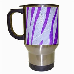 Skin3 White Marble & Purple Watercolor (r) Travel Mugs (white) by trendistuff