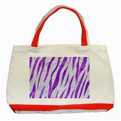Skin3 White Marble & Purple Watercolor (r) Classic Tote Bag (red) by trendistuff