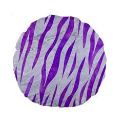 Skin3 White Marble & Purple Watercolor (r) Standard 15  Premium Round Cushions by trendistuff