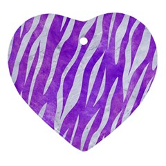 Skin3 White Marble & Purple Watercolor Ornament (heart) by trendistuff