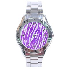 Skin3 White Marble & Purple Watercolor Stainless Steel Analogue Watch by trendistuff