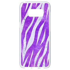 Skin3 White Marble & Purple Watercolor Samsung Galaxy S8 White Seamless Case by trendistuff