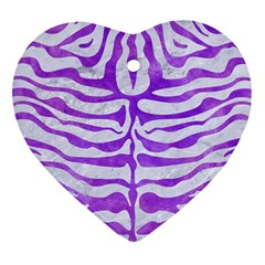 Skin2 White Marble & Purple Watercolor (r) Heart Ornament (two Sides) by trendistuff