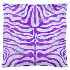 Skin2 White Marble & Purple Watercolor (r) Large Flano Cushion Case (one Side) by trendistuff