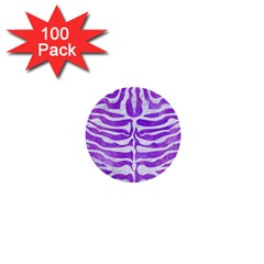 Skin2 White Marble & Purple Watercolor 1  Mini Buttons (100 Pack)  by trendistuff