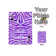 Skin2 White Marble & Purple Watercolor Playing Cards 54 (mini)  by trendistuff