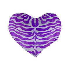 Skin2 White Marble & Purple Watercolor Standard 16  Premium Flano Heart Shape Cushions by trendistuff