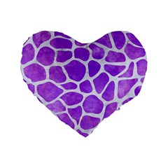 Skin1 White Marble & Purple Watercolor (r) Standard 16  Premium Flano Heart Shape Cushions by trendistuff