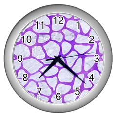 Skin1 White Marble & Purple Watercolor Wall Clocks (silver)  by trendistuff