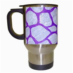 Skin1 White Marble & Purple Watercolor Travel Mugs (white) by trendistuff