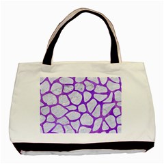 Skin1 White Marble & Purple Watercolor Basic Tote Bag (two Sides) by trendistuff