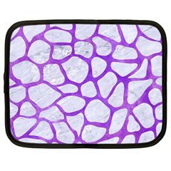 Skin1 White Marble & Purple Watercolor Netbook Case (large) by trendistuff
