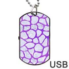Skin1 White Marble & Purple Watercolor Dog Tag Usb Flash (two Sides) by trendistuff