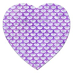 Scales3 White Marble & Purple Watercolor (r) Jigsaw Puzzle (heart) by trendistuff